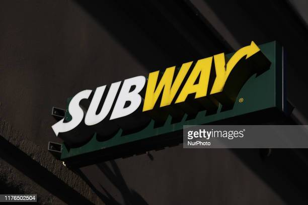 Subway logo is seen on the restaurant in Krakow Poland on October 16 2019