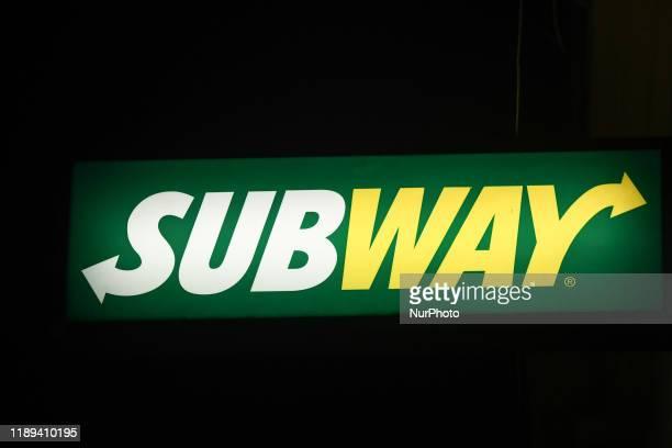 Subway logo seen in Krakow center. On Monday, December 17 in Krakow, Poland.