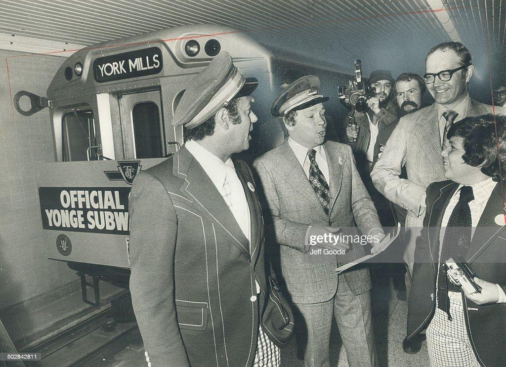 Subway operators for a day: Toronto Mayor David Crombie (centre) and North York Mayor Mel Lastman (l : News Photo