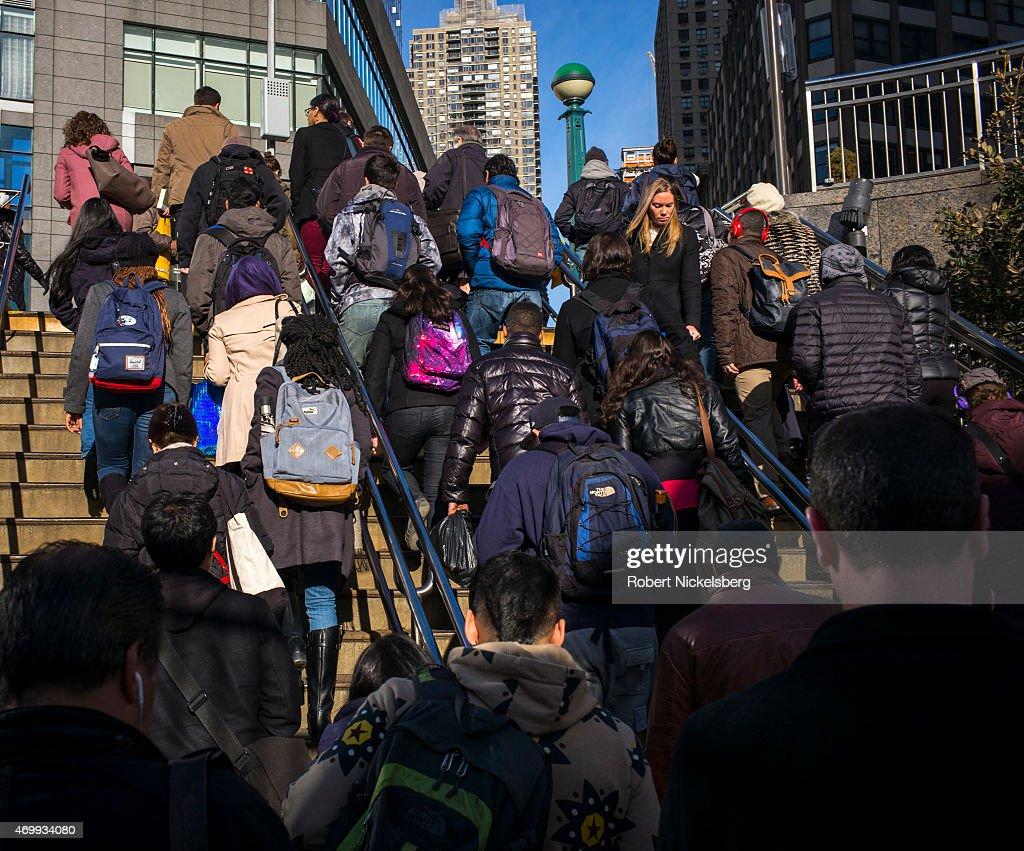 Subway Passengers Exit Columbus Circle Station : News Photo