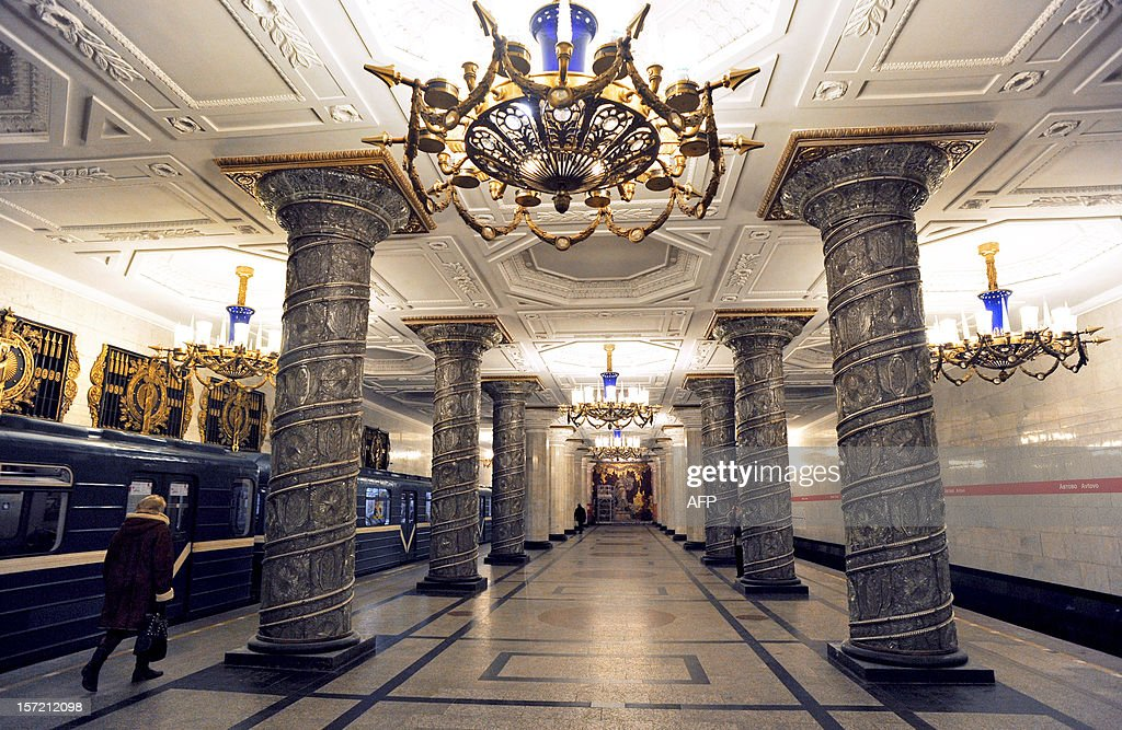 With columns faced in glass and white marble, Avtovo station on the St Petersburg metro is as opulent a design as underground train travel can get