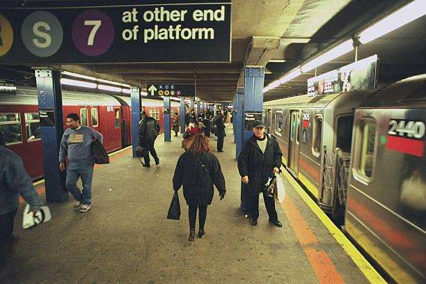 Subway platform at Times Square.