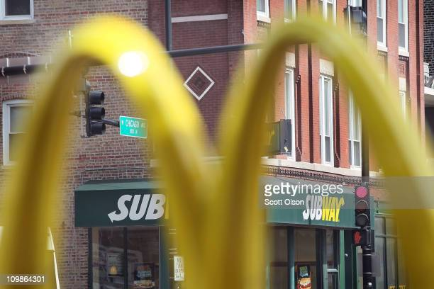 Subway restaurant sits across the street from a McDonald's restaurant on March 8 2011 in Chicago Illinois With 34225 restaurants in 95 countries...