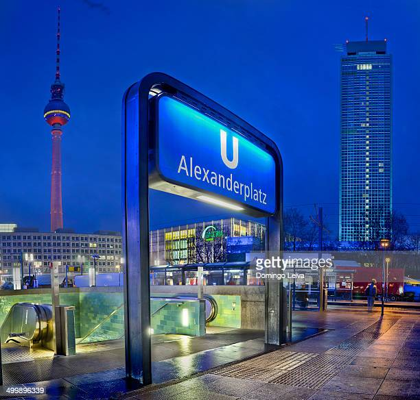 subway sign, alexanderplatz, berlin, germany, low - underground sign stock pictures, royalty-free photos & images