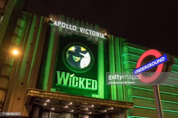 subway sign in london. theatre in the background - musical theater stock pictures, royalty-free photos & images
