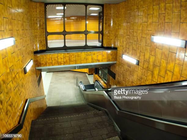 subway staircase in berlin, germany - u bahnstation stock-fotos und bilder