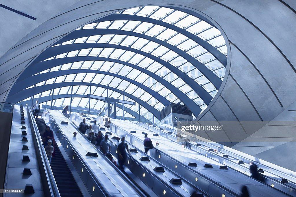 Subway Station Escalators, Canary Wharf, London, England : Stock Photo