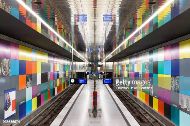subway station georg-brauchle ring, munich - christian beirle stock pictures, royalty-free photos & images