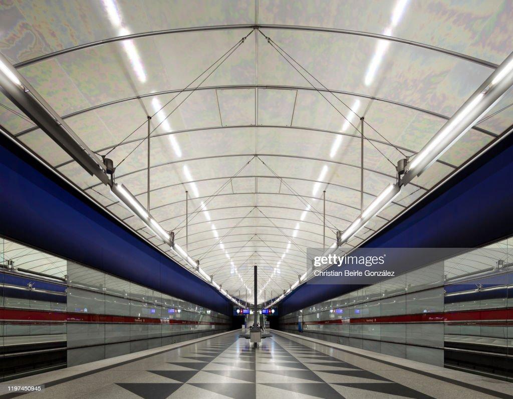 Subway Station Hasenbergl, Munich, Germany : Stock-Foto