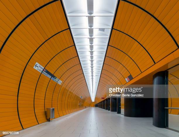 subway station marienplatz, munich - christian beirle stockfoto's en -beelden