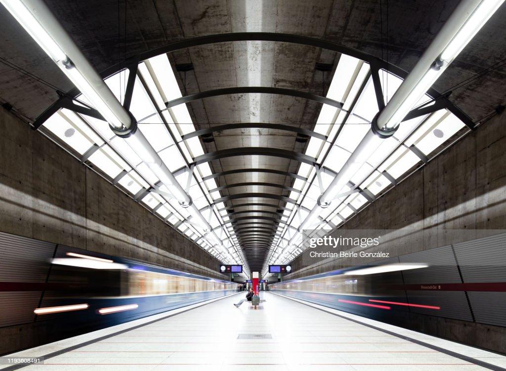 Subway Station Messestadt Ost, Munich, Germany : Stock-Foto