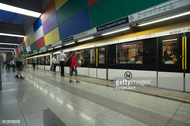subway station of budapest city - fstoplight stock photos and pictures