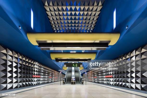 subway station olympia-einkaufszentrum, munich - christian beirle gonzález stock pictures, royalty-free photos & images
