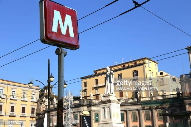 subway station sign in naples dante square. - napoli stock pictures, royalty-free photos & images