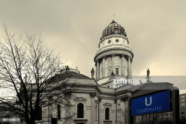 "subway station ""stadtmitte"" near the ""deutscher dom"" on the famous gendarmenmarkt (berlin, germany) - gendarmenmarkt stock pictures, royalty-free photos & images"