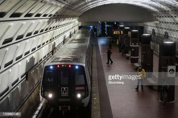Subway train arrives at Union Station in Washington, D.C., U.S., on Monday, April 13, 2020. Congress faces intense pressure to negotiate an interim...