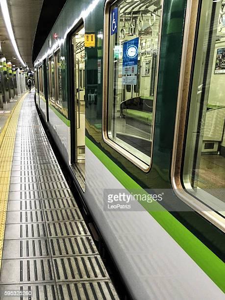 Subway train at night in Kyoto - Japan