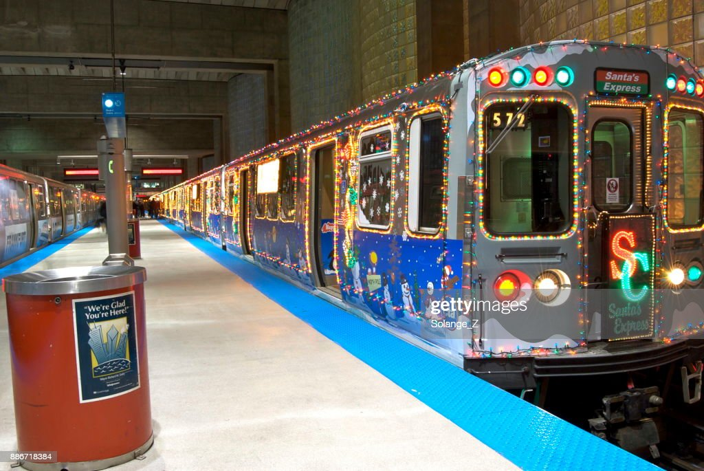 subway train decorated for christmas in chicago stock photo - Christmas Train Chicago