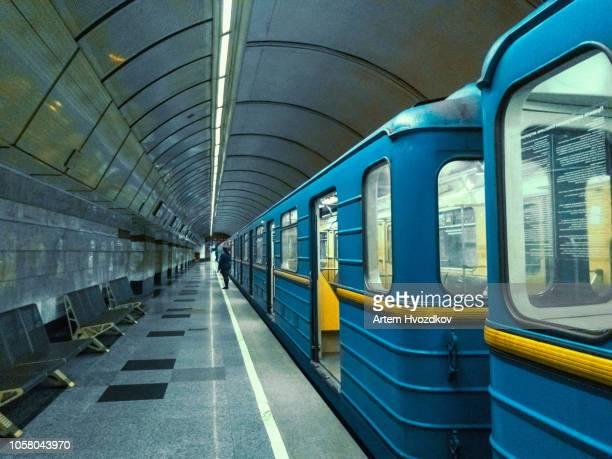 subway train in kyiv, ukraine - kiew stock-fotos und bilder
