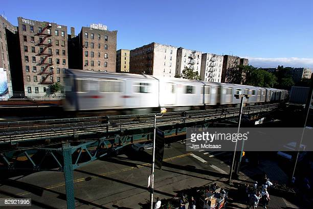 A subway train is seen passing Yankee Stadium prior to the game between the New York Yankees and the Baltimore Orioles on September 19 2008 at Yankee...