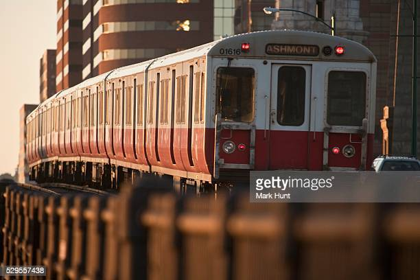 Subway train on a bridge, Longfellow Bridge, Charles River, Boston, Suffolk County, Massachusetts, USA
