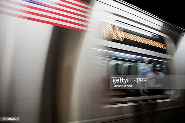 Subway train on the move, New York City, USA