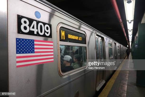 A subway train pulls out of the 14th Street station on November 2 2017 in New York City