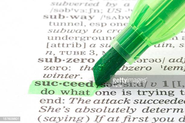 succeed definition highlighted with green marker in dictionary