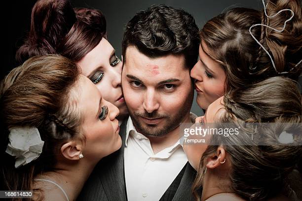 Succesful latin lover, a groom with four brides.