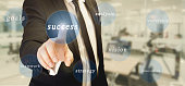 success concept, businessman touch success word in the words cloud