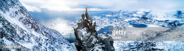success in the mountains - norway stock pictures, royalty-free photos & images