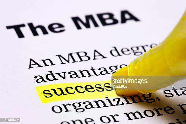 'Success' is highlighted in yellow under the heading 'The MBA'