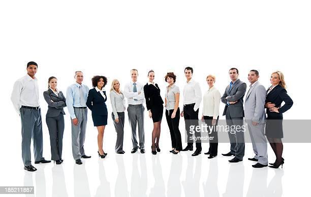 Grupo de negocios exitoso sobre fondo blanco