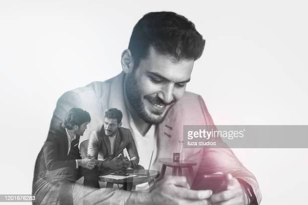 successful business man concept - esposizione multipla foto e immagini stock