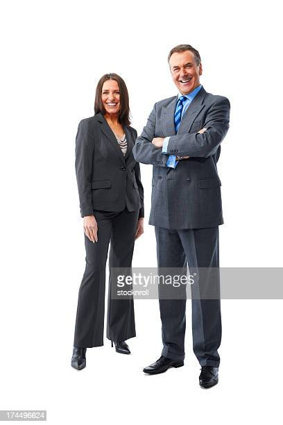 Successful business man standing with his female colleague