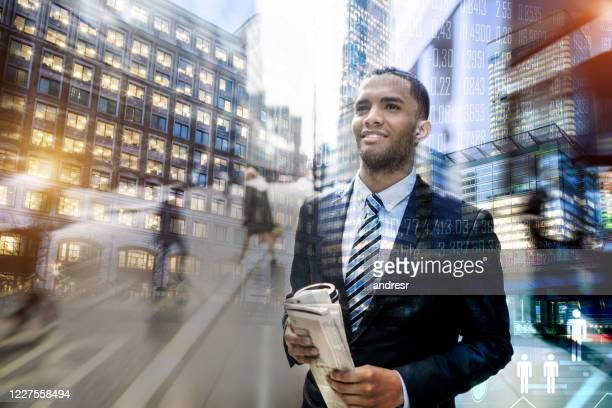 successful business man working in the global stock market - stock trader stock pictures, royalty-free photos & images