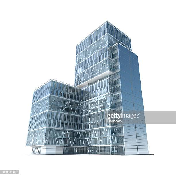 successful business: modern corporate office building with clipping path - wolkenkrabber stockfoto's en -beelden