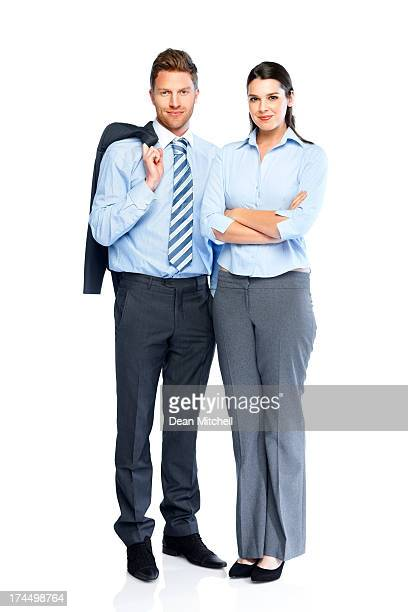 Successful business partners standing together