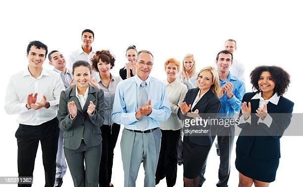 Gens d'affaires applaudir à la réussite de votre réunion.