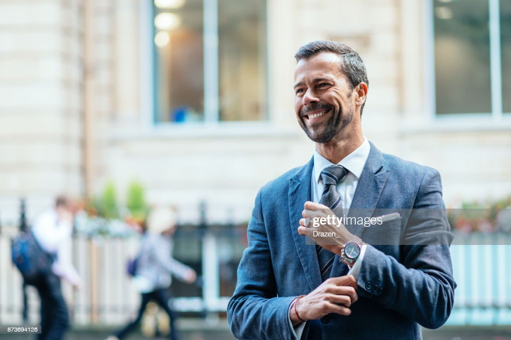 successful business person expressing positive emotion stock photo