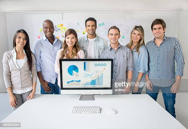 Successful business team showing online growth development
