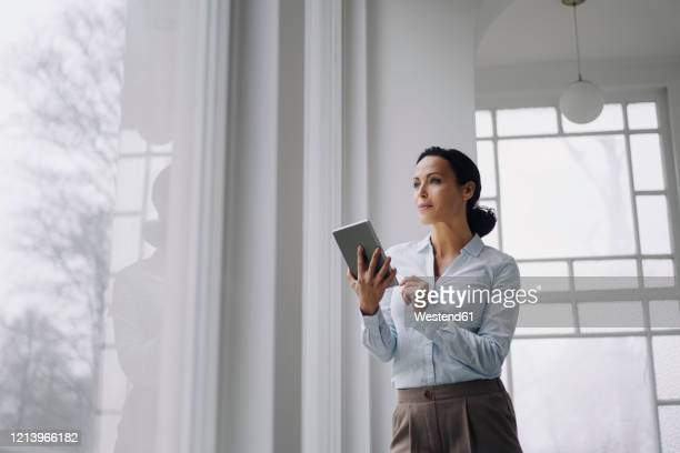 successful businesswoman, standing by window, using digital tablet - elegante imagens e fotografias de stock