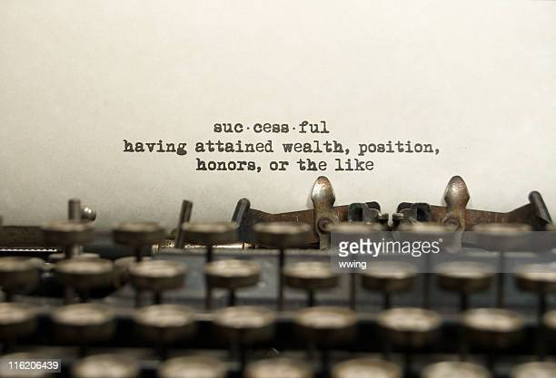 Successful definition on an old typewriter