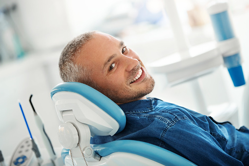 Successful dentist appointment. 1055861404