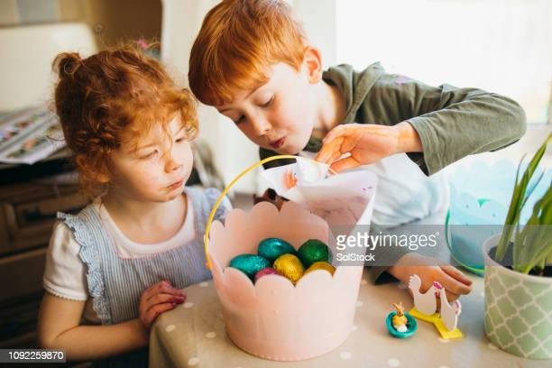 successful easter egg hunt - easter egg stock pictures, royalty-free photos & images