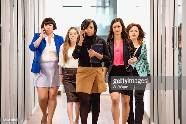 Successful Female Corporate Business Team Walking WIth Purpose