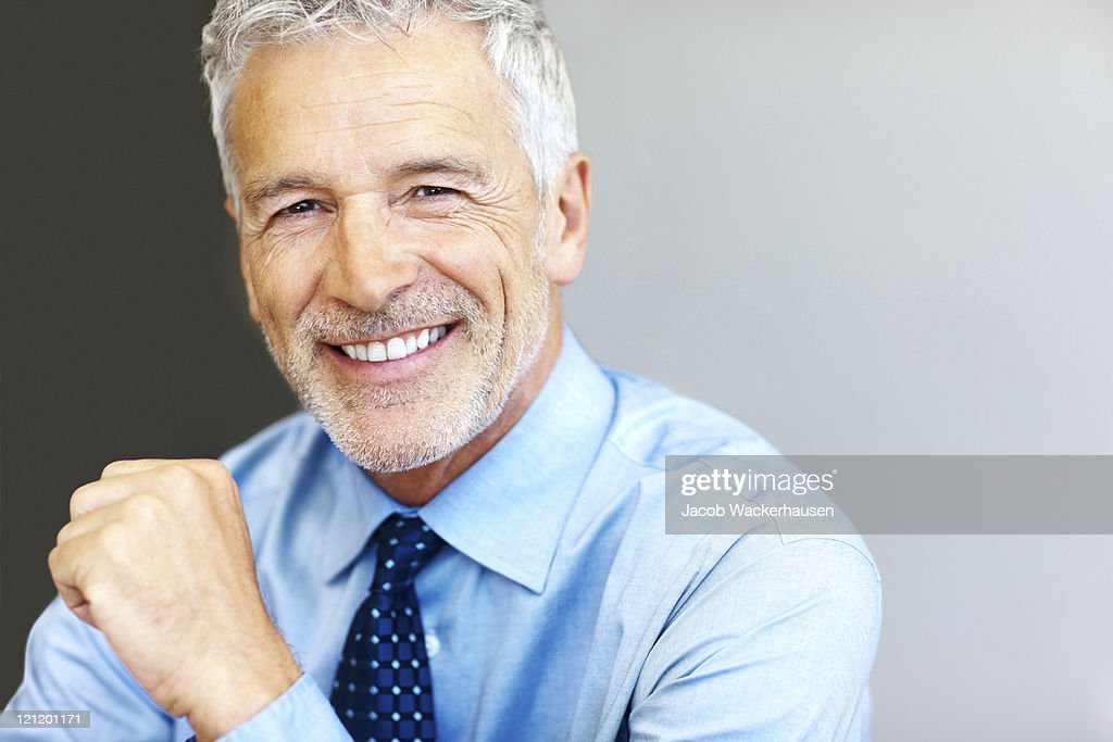 Successful mature business man smiling - Copyspace : Stock Photo