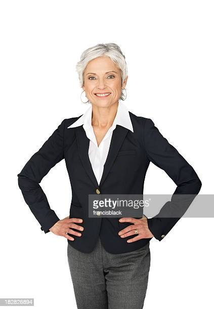 Successful modern business woman on white.