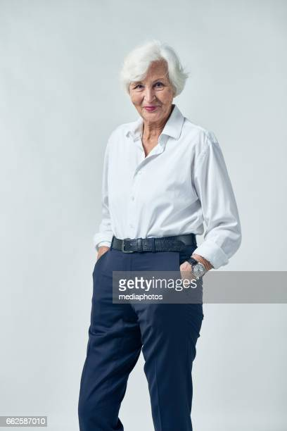 successful senior woman - white hair stock pictures, royalty-free photos & images