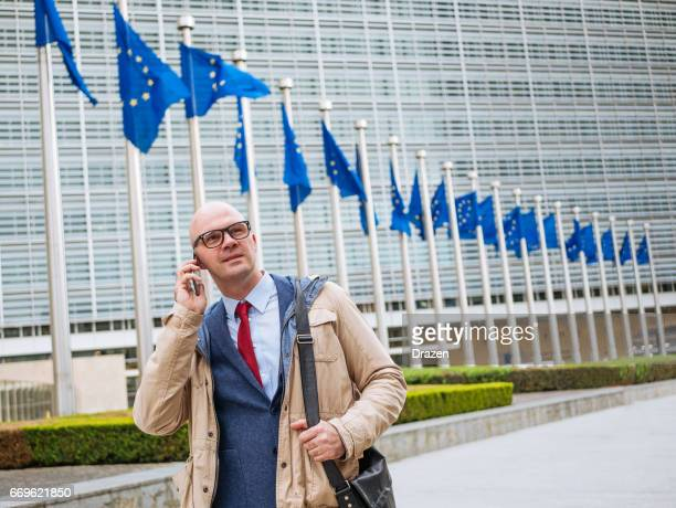 Successful spokesman of European Commission dealing with communication matters near Berlaymont building in Brussels